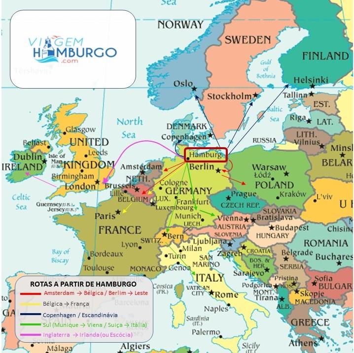 Roteiros para diversas partes da Europa incluindo Hamburgo
